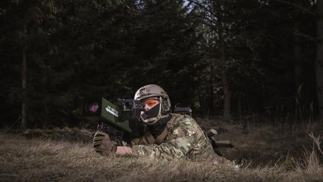 Dismounted infantryman firing Enforcer