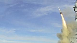 ASTER 15 firing from Charles de Gaulle aircraft carrier
