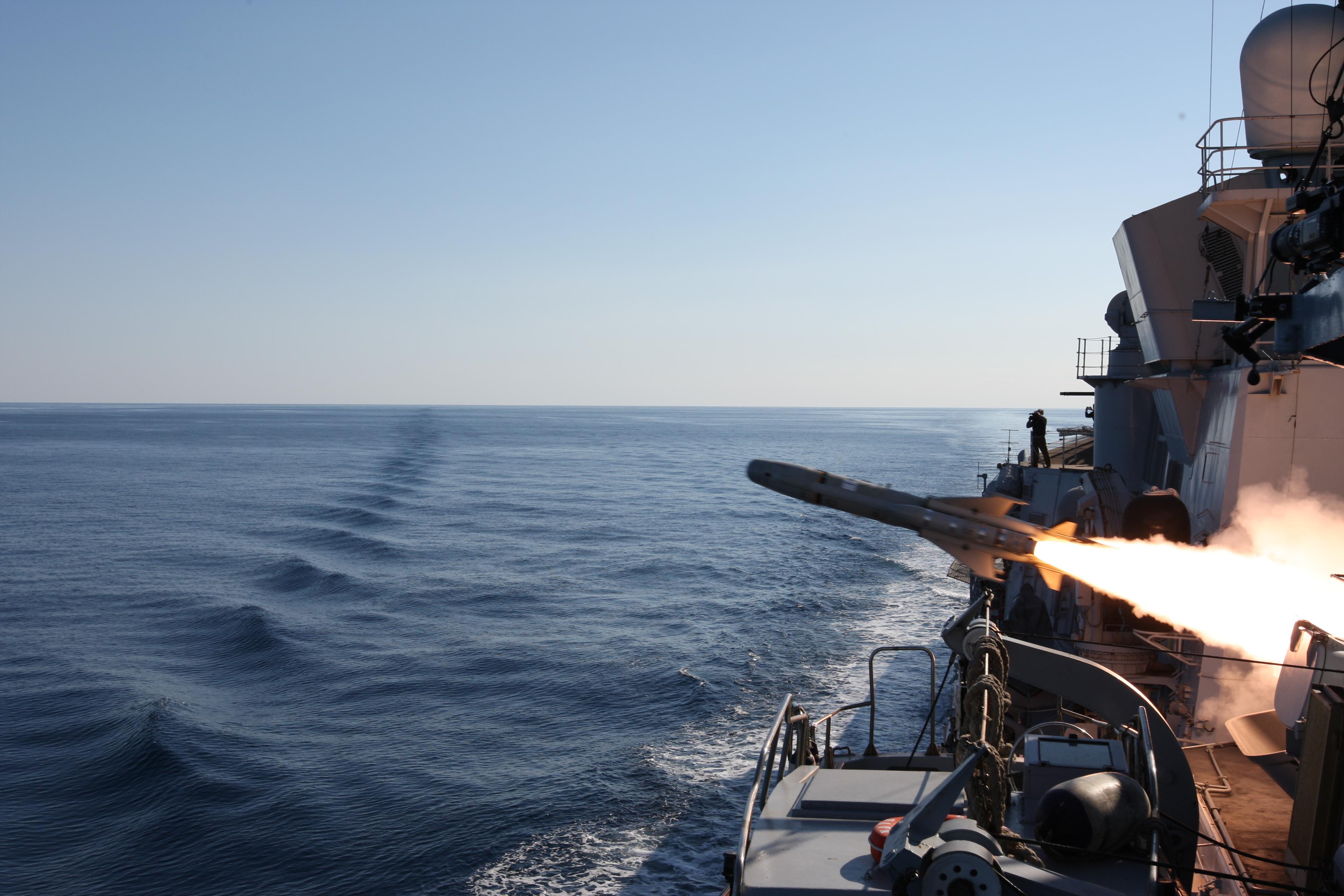 OTOMAT MK2 BLOCK IV firing from Durand de la Penne Destroyer