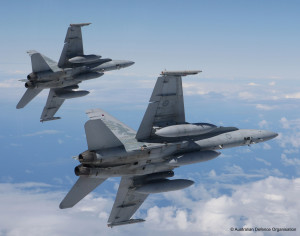 Air to Air Sortie over Sydney by 2 F/A-18 Hornets from Number 3 sqn on the 08 september AFIR:000-185-884