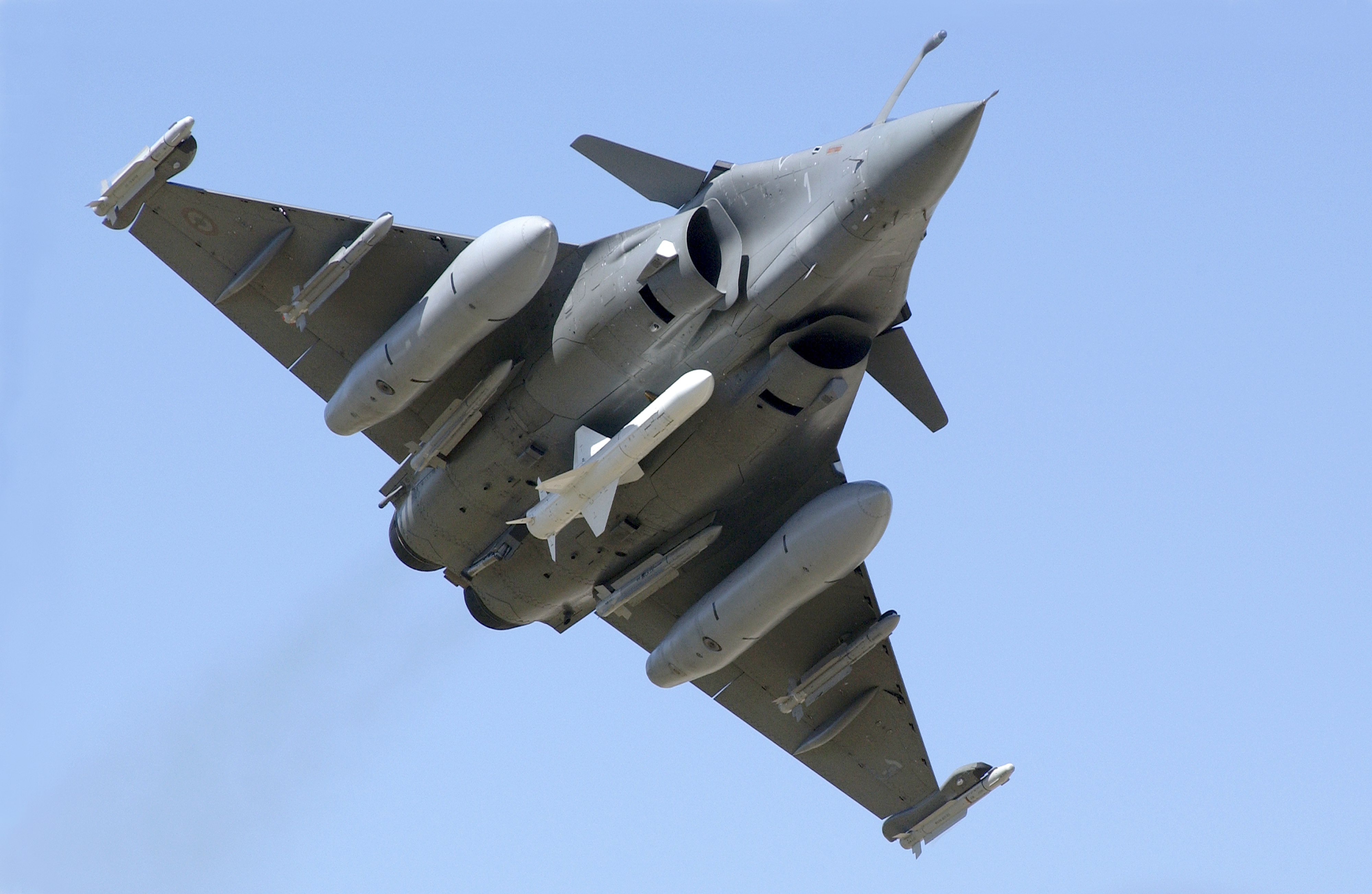 Rafale in flight with Exocet AM39