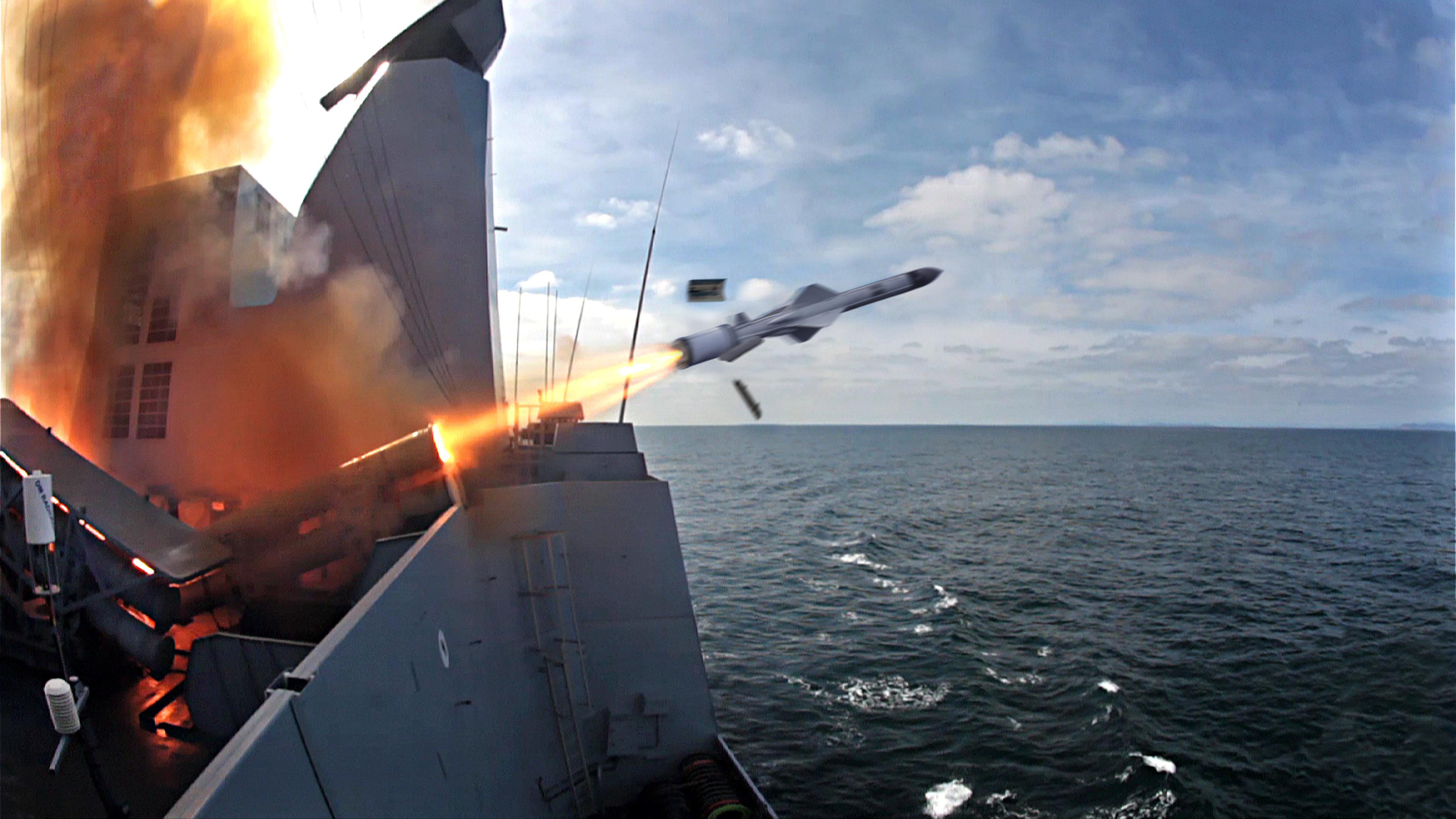 First Exocet MM40 Block 3 firing from frigate Horizon Chevalier Paul