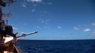 Exocet MM40 B3 firing fom Brazilian frigate