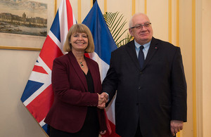 Minister Harriett Baldwin with her French counterpart Laurent Collet-Billon.
