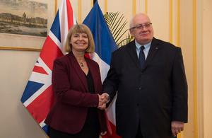 Minister Harriett Baldwin with her French counterpart Laurent Collet-Billon.