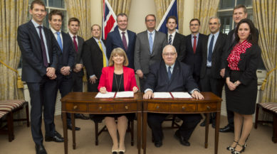 Min DP Meets Laurent Collet-Billon - Tuesday 28th March 2017  Defence Minister Harriett Baldwin and her French counterpart Laurent Collet-Billon today signed an agreement to explore future missile technologies with MBDA.  Behind are from left to right Jacques Doumic, Chris Heffernon, James Sheader, Mark Reason, Dave Armstrong, Antoine Bouvier, Nicholas Coward, Benoit de Poulpaque, unknown, Richard Wray and Charlotte Robinson.